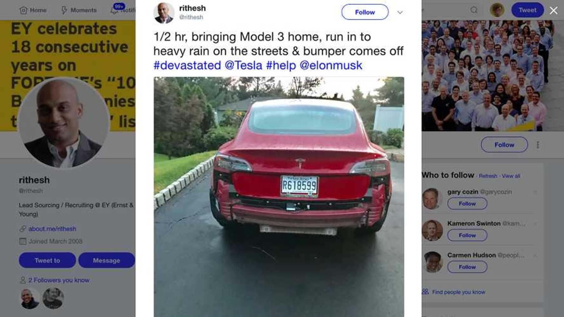 UPDATE: Are Tesla Model 3 Rear Bumpers Falling Off In The Rain?