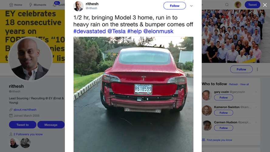 UPDATE: Are Tesla Model 3 Rear Bumpers Falling Off In The Rain?