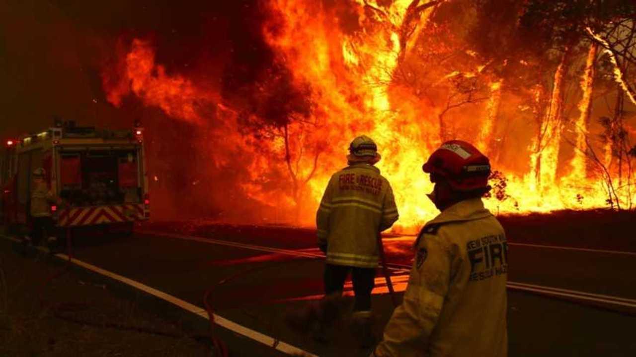 Fire and Rescue fighting bushfire in Bilpin Sydney Australia on 19 December 2019