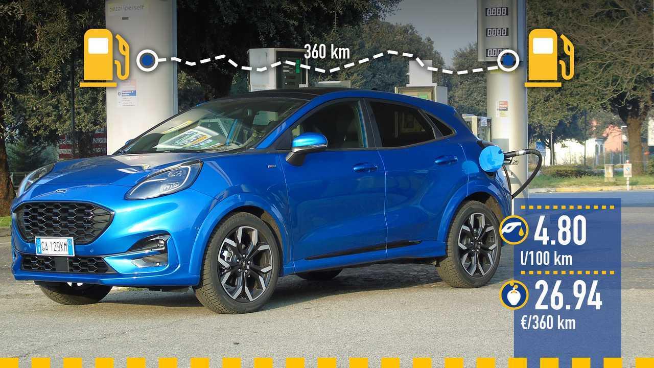 Ford Puma 1.0 benzina mild hybrid, la prova consumi