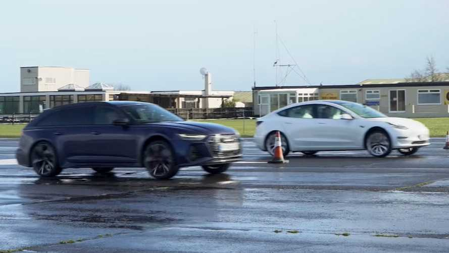 Watch this Audi RS6 Avant drag race a Tesla Model 3 Performance