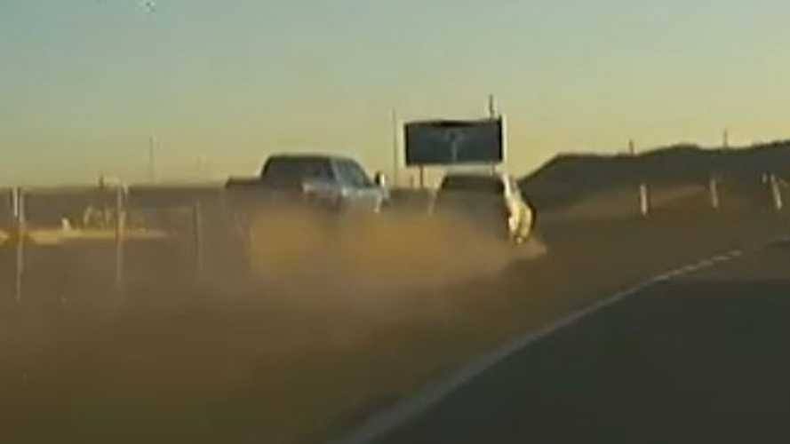 Watch BMW SUV Slam Into Ford F-150 And Then Roll: Caught On TeslaCam