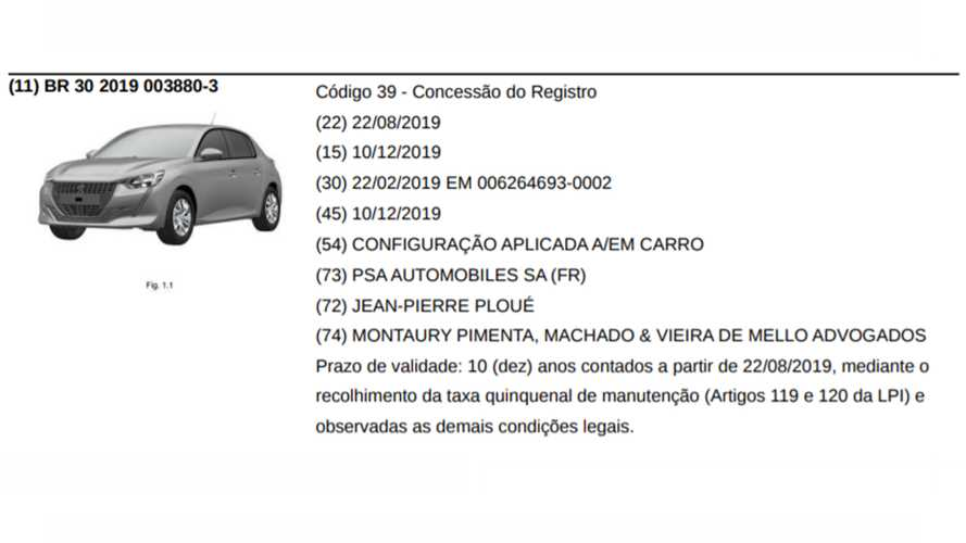 Peugeot 208 2020 - Registro no INPI