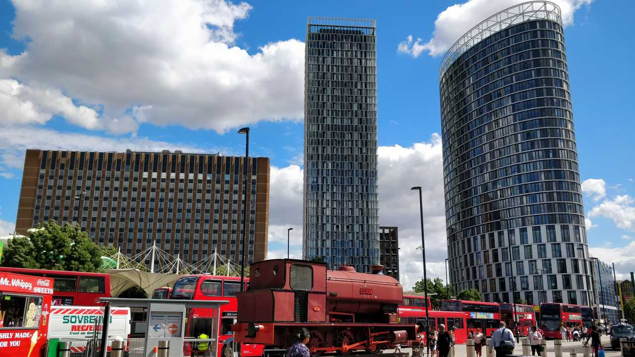 View of office towers in Stratford Newham London UK