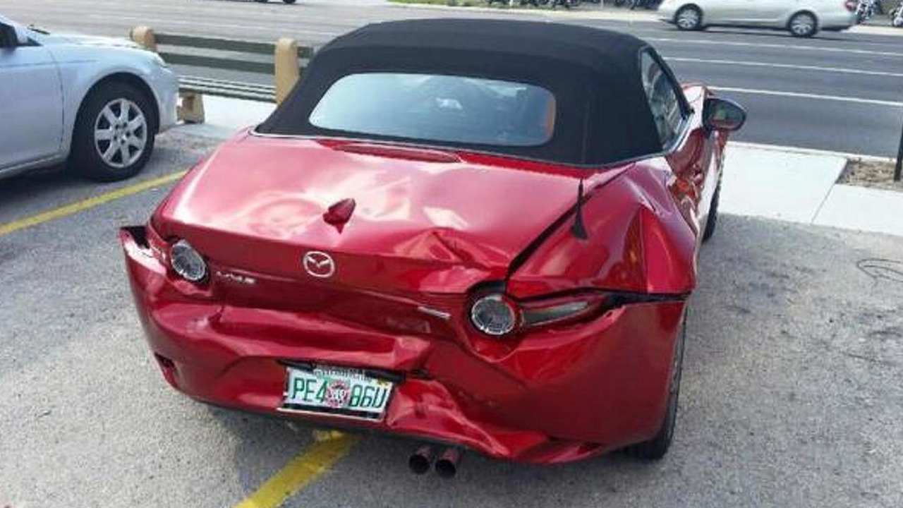 Crashed Mazda Miata MX-5