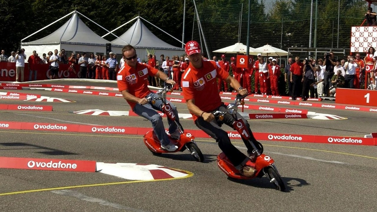 Barrichello and Schumacher Monza 2003 - Vodafone Scooter Cup