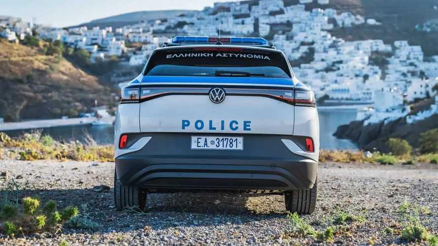 VW ID.4 als Polizeiauto auf der griechischen Insel Astypalea