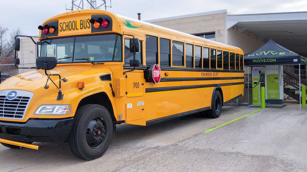 Blue Bird's 100% Electric School Bus sending energy back to the grid through the Nuvve V2G System