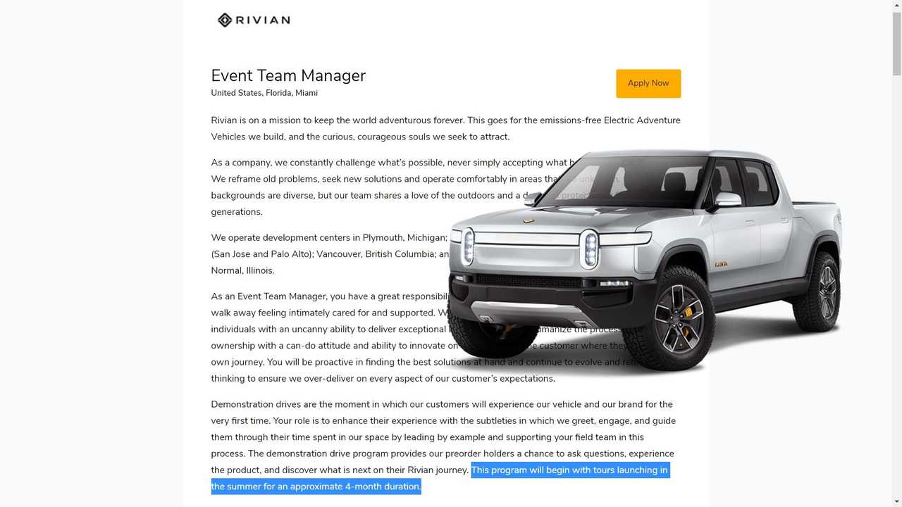 Rivian Is Hiring People To Launch A Summer Test Drive Tour