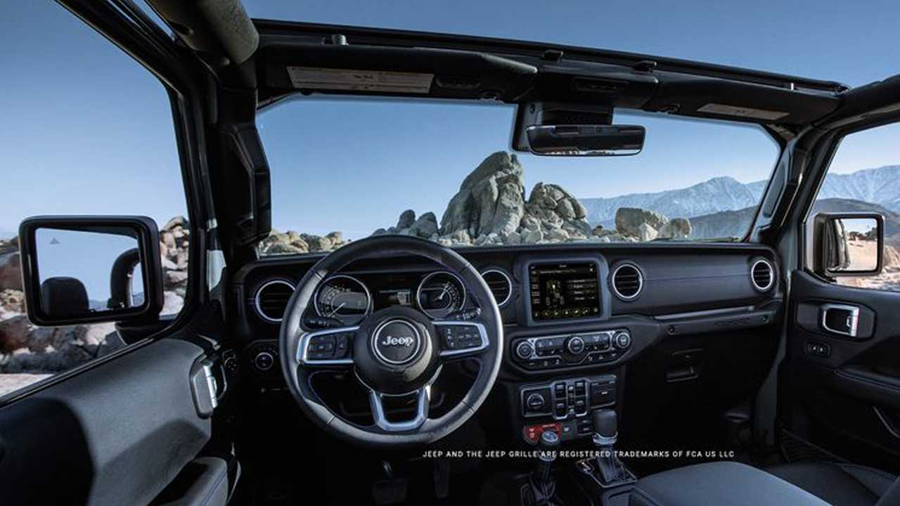This interior photo appears to show the Wrangler 4xe but a very close look suggests it's actually a Gladiator interior.