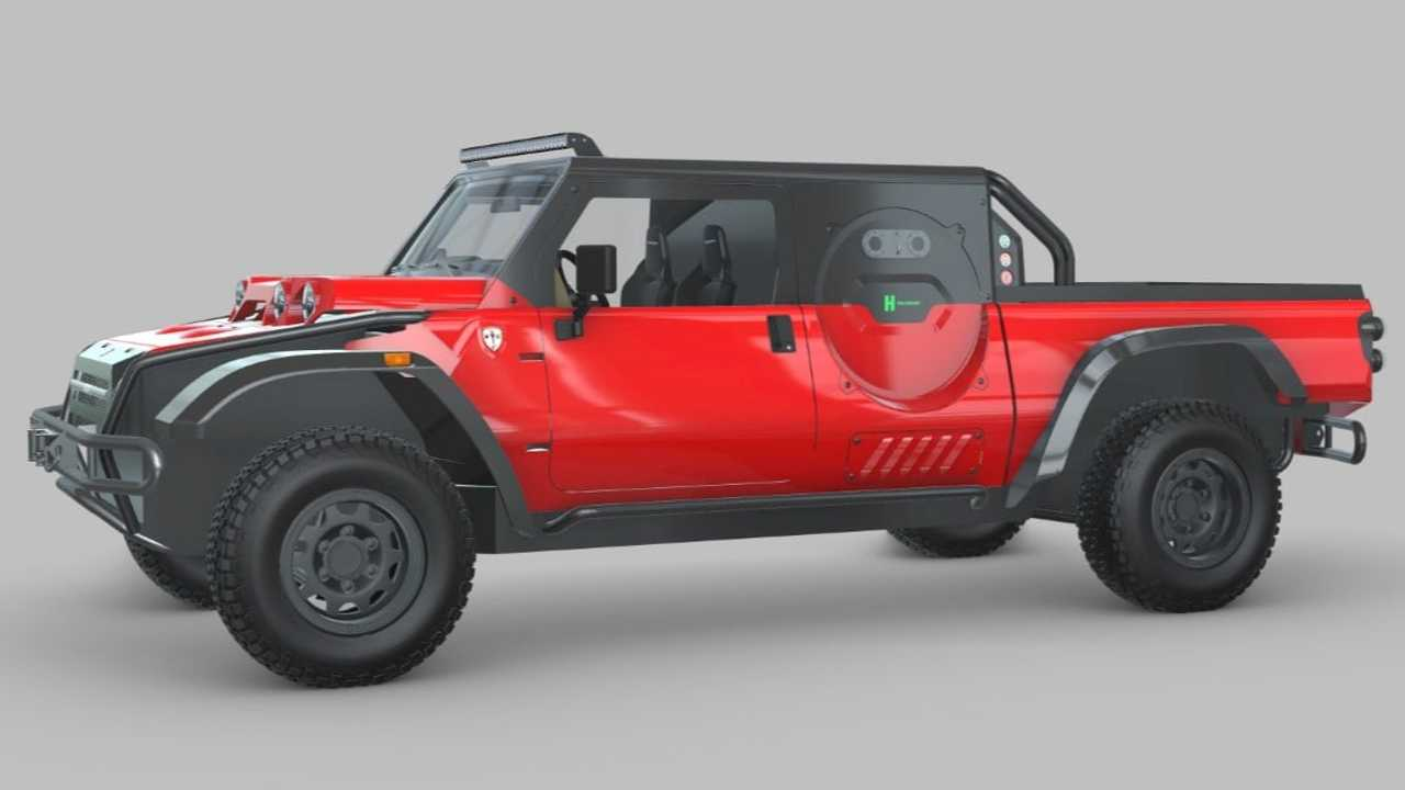 A depiction of the SCG Boot as a zero-emission pickup truck running on hydrogen.