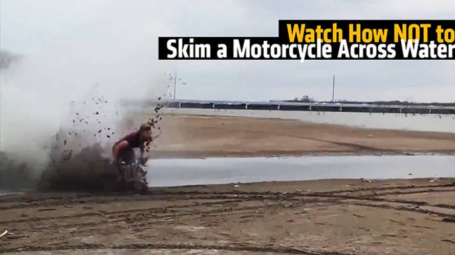Watch As A Motorcycle Tries to Skim Across Water, but Ends Up In a Face Plant