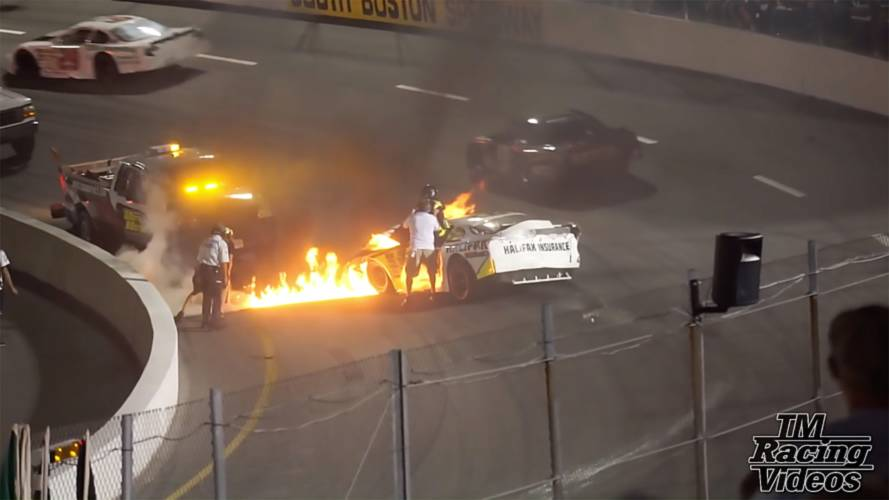 Watch a father save his son from a burning race car