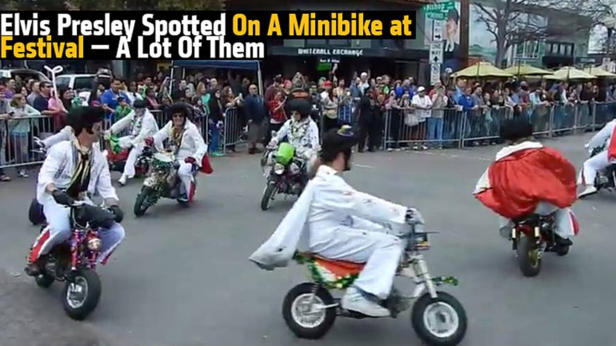 Elvis Presley Spotted On A Minibike at Festival —A Lot Of Them
