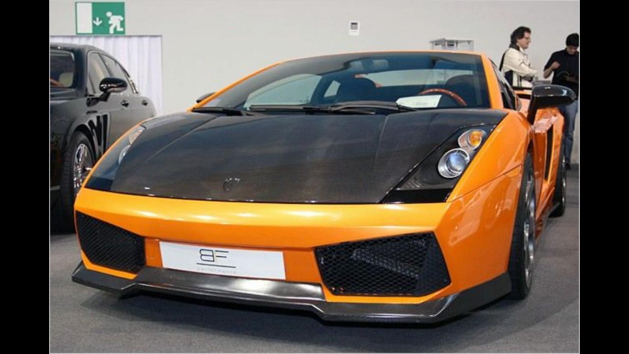 Frontschürze und Motorhaube aus Karbon machen den Lamborghini Gallardo von BF Performance noch edler