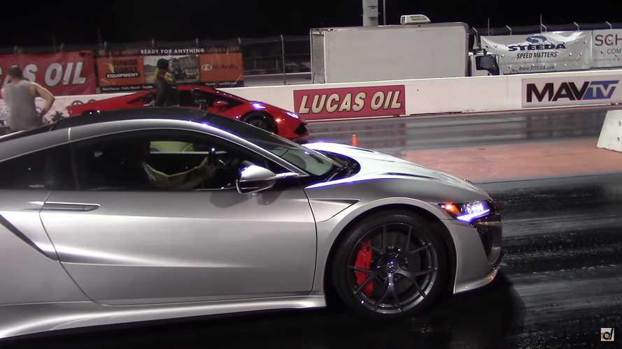 Acura NSX Battles Lambo Huracán In Stock Vs. Stock Drag Race