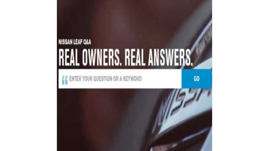 "Nissan LEAF ""Real Owners. Real Answers"" Q & A Site Is Extraordinary"