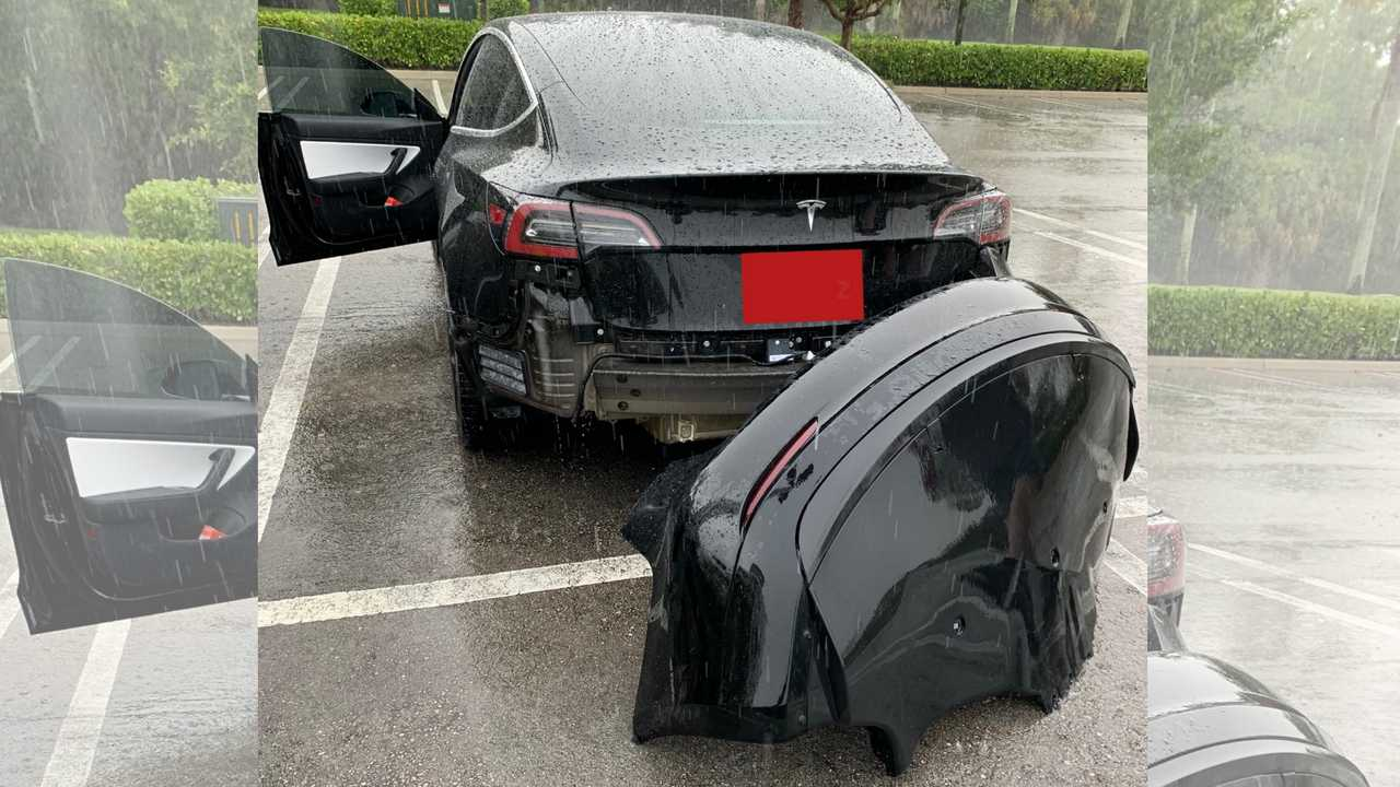Watch This Tesla Model 3 Rear Bumper Fly Off After Driving Through Puddle