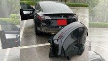 Tesla Model 3 perdendo o para-choque traseiro