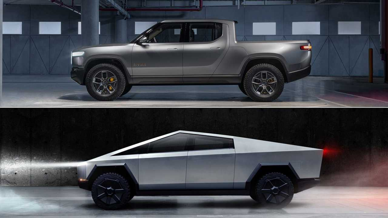 Rivian-R1T-Tesla-Cybertruck-Side-View-scaled
