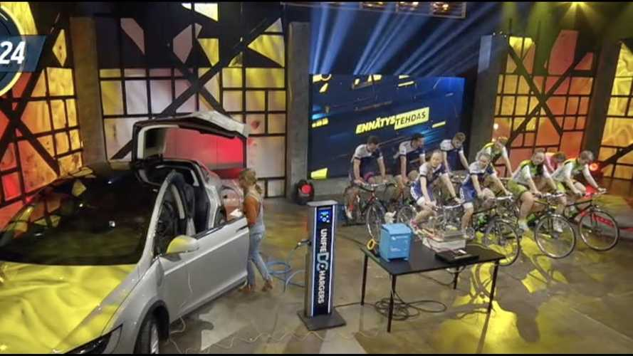 Finns Attempt To Charge Tesla Model X Using Bicycles