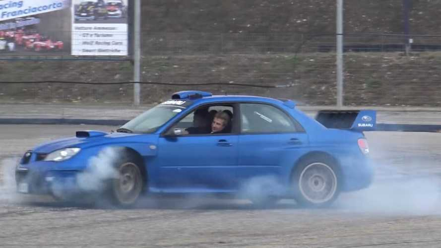 Subaru Impreza WRC rally car replica does AWD donuts