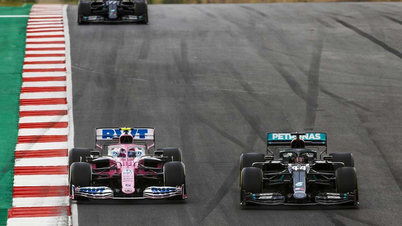 Lewis Hamilton, Mercedes F1 W11, Lance Stroll, Racing Point RP20, and Valtteri Bottas, Mercedes F1 W11