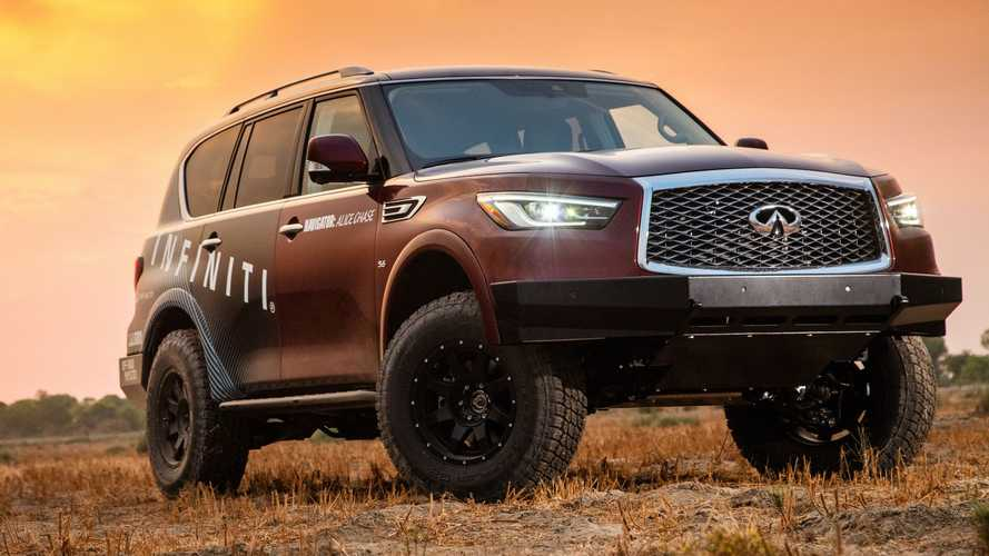 2021 Infiniti QX80 For Rebelle Rally Front Quarter
