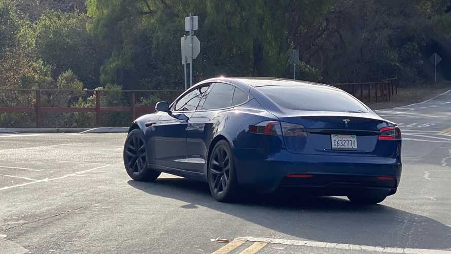 Tesla Model S Plaid prototype spotted bearing telltale modifications
