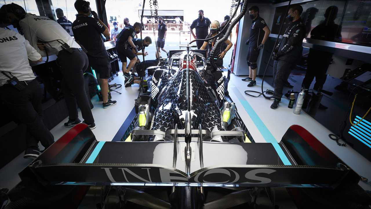 The car of Lewis Hamilton, Mercedes F1 W11, in the garage