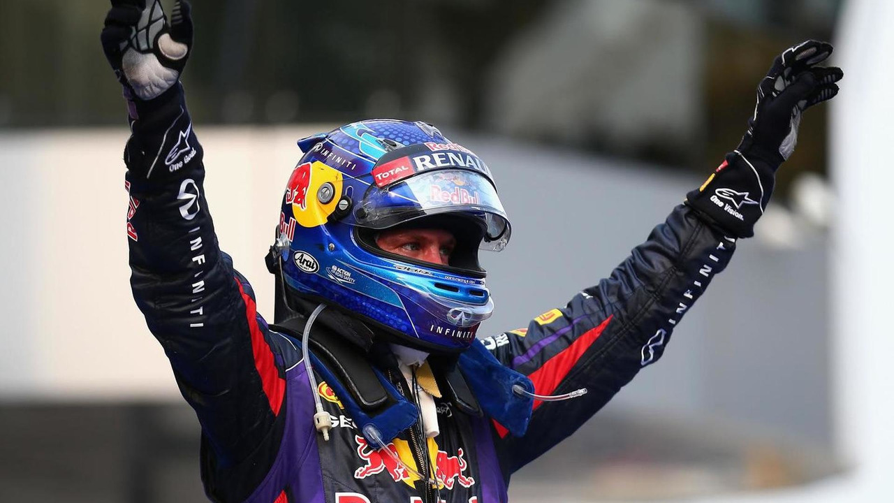 Sebastian Vettel celebrates winning 2013 Malaysian Grand Prix