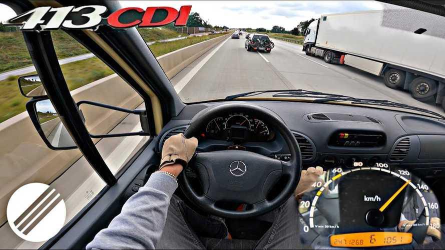 Old Mercedes Sprinter diesel ambulance goes for Autobahn top speed run