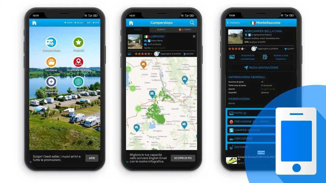 migliori app ricerca aree di sosta e campeggi