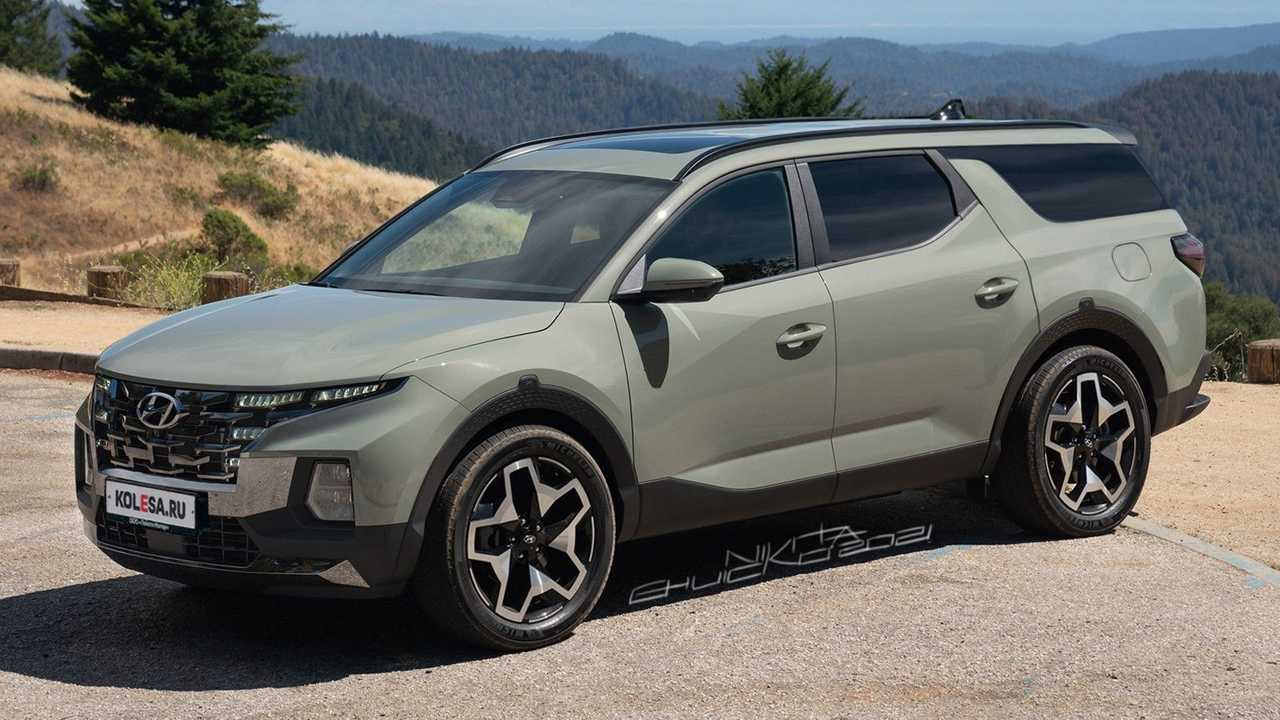 Hyundai Santa Cruz 7-seat crossover rendered