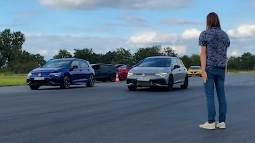 VW Golf R vs Golf GTI 45 Clubsport drag race is not even close