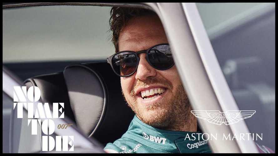 Vettel e Stroll in drift con l'Aston Martin DB5 di 007. Video
