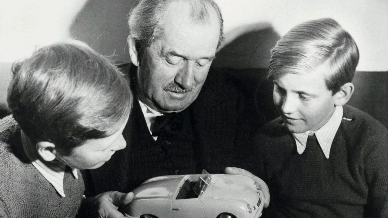 Ferdinand Porsche with grandchildren Ferdinand Piëch (right) and Ferdinand Alexander Porsche