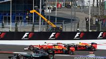 Start crash with Sebastian Vettel, Daniil Kvyat, Daniel Ricciardo, and Lewis Hamilton