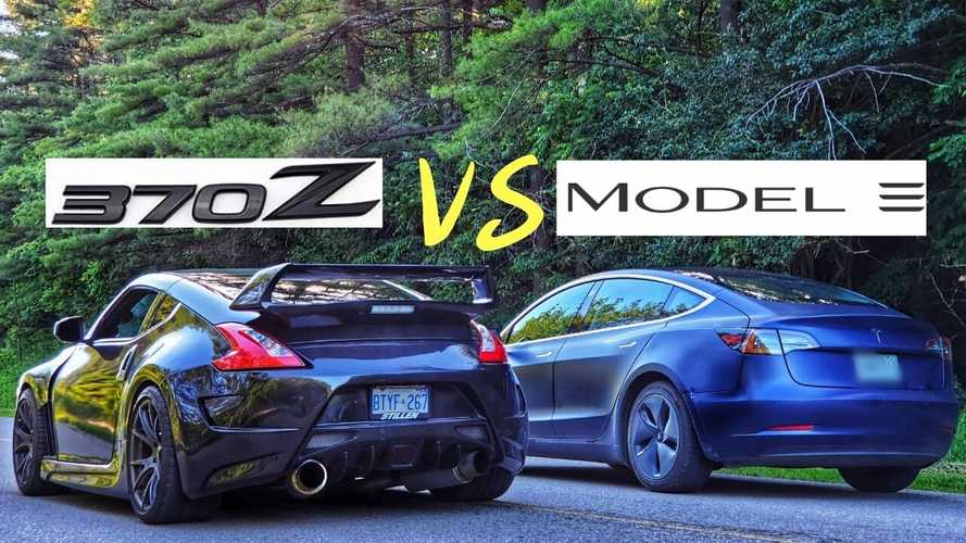Watch Tesla Model 3 Take On Nissan 370Z Twin Turbo: Drag Race Video