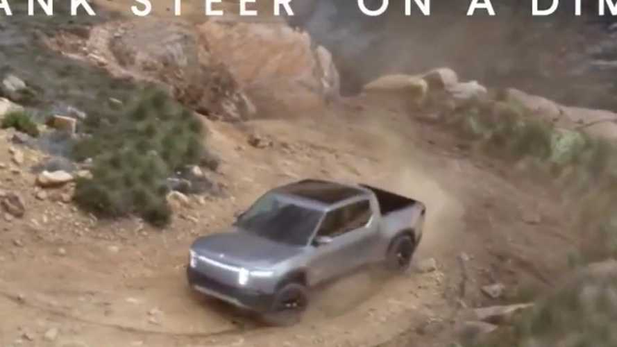 Rivian R1T Pickup Truck Tank Turn Video Zoomed In For Detail