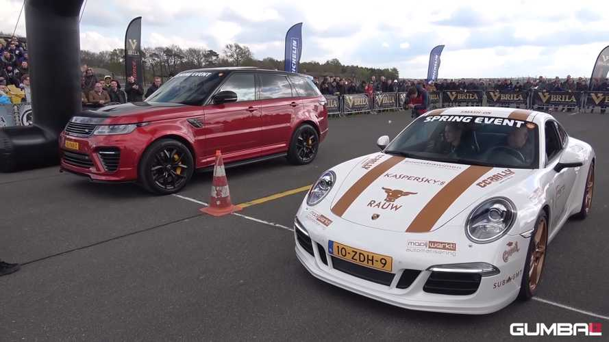 See a Range Rover Sport SVR drag race some serious sports cars