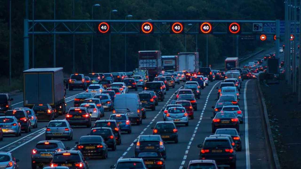 Evening traffic on motorway M1.M25 junction in Watford UK