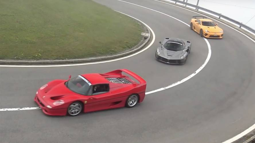 Watch dozens of rare supercars cruise a closed mountain road