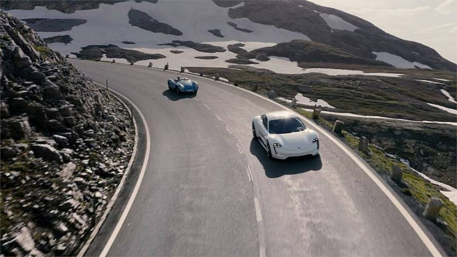 Watch Porsche Taycan Tackle Mountain In Stunning Drone Footage