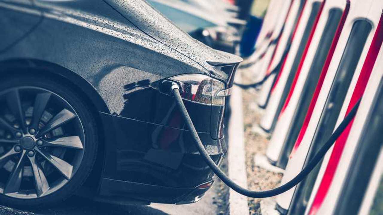 Tesla Model S charging at station