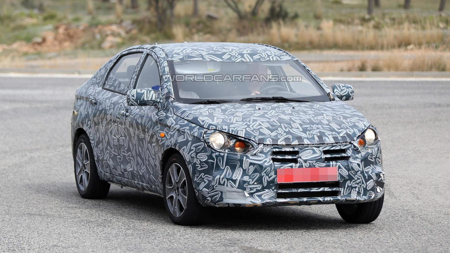 Unknown budget sedan prototype spied, could be a Datsun
