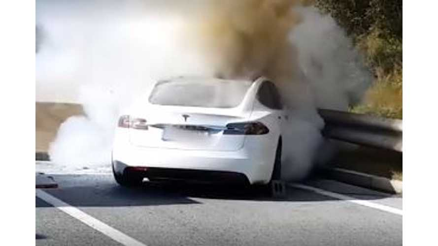 Firefighters Versus Fiery Tesla Model S - Video