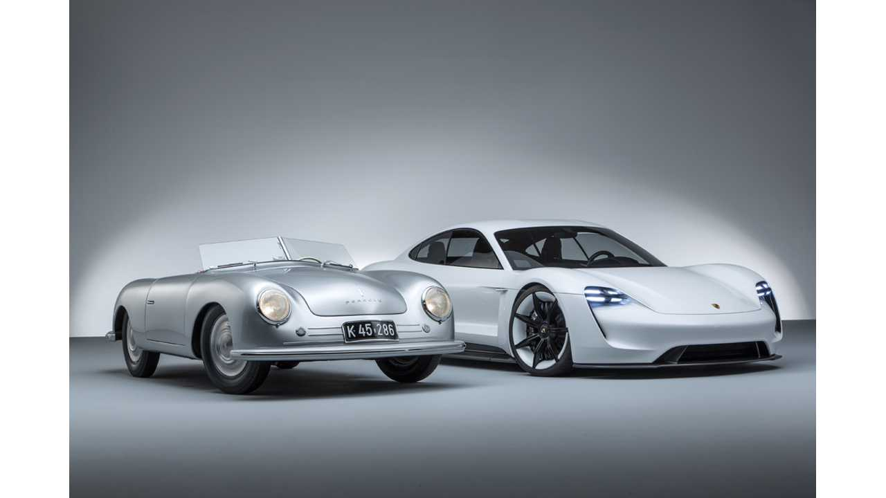 Porsche Mission E Alongside Porsche 356