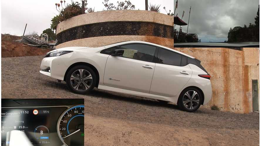 Nissan LEAF e-Pedal On A Slope And Auto Parking Tested - Video