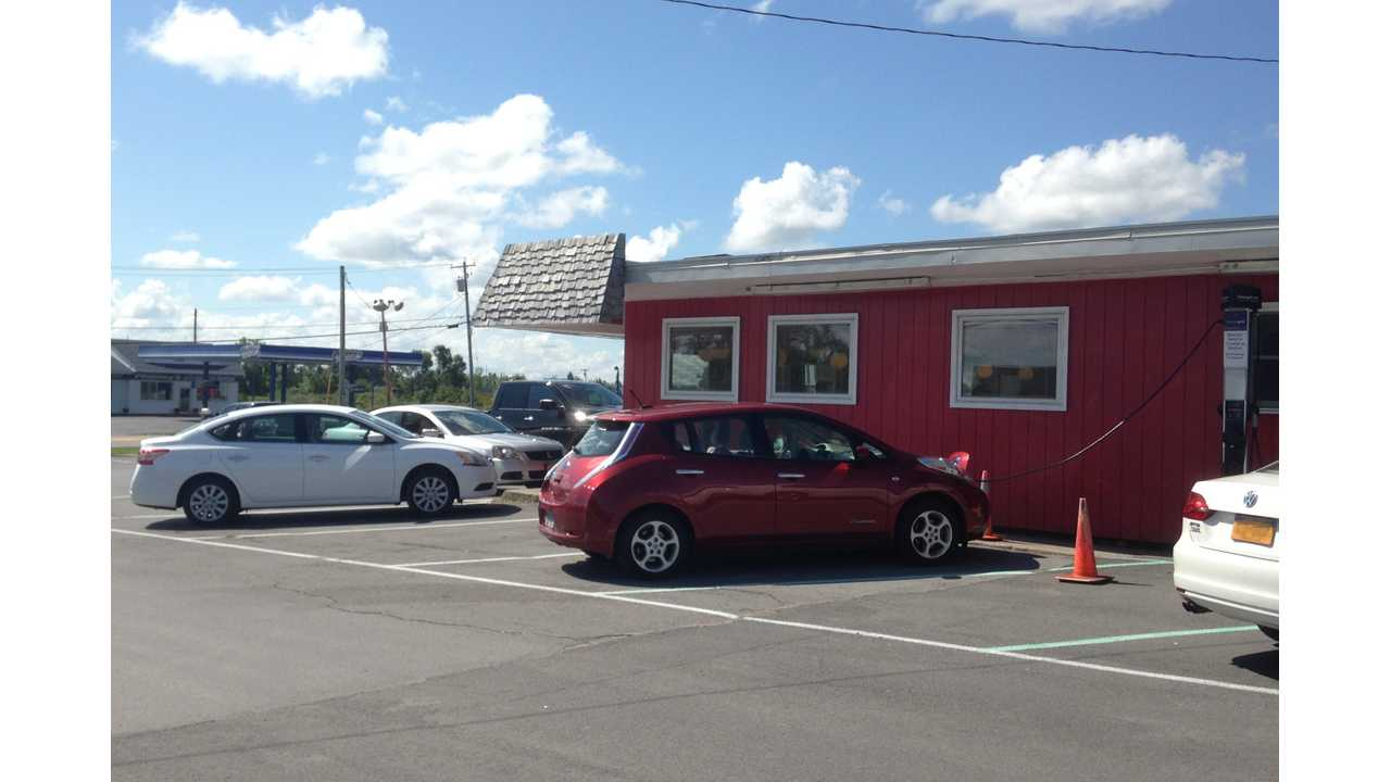 Brian getting some free opportunity charging at Longway's Diner in Watertown, NY.